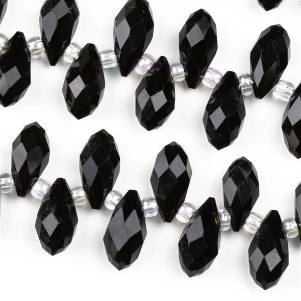 Crystal 6x12mm Opaque Jet Black Top Drilled Briolette Beads - 12.5 inch strand