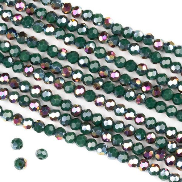 Crystal 4mm Faceted Round Beads - Opaque Hot Pink Golden Copper Kissed Forest Green - 15.5 inch strand