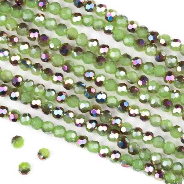 Crystal 4mm Faceted Round Beads - Opaque Hot Pink Golden Copper Kissed Spearmint Green - 15.5 inch strand