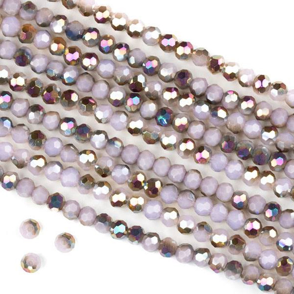 Crystal 4mm Faceted Round Beads - Opaque Hot Pink Golden Copper Kissed Pale Pink - 15.5 inch strand
