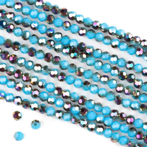 Crystal 4mm Faceted Round Beads - Opaque Hot Pink Golden Copper Kissed Chinese Turquoise - 15.5 inch strand