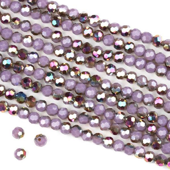 Crystal 4mm Faceted Round Beads - Opaque Hot Pink Golden Copper Kissed Purple - 15.5 inch strand