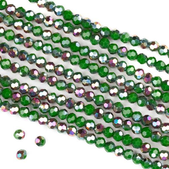 Crystal 4mm Faceted Round Beads - Opaque Hot Pink Golden Copper Kissed Green - 15.5 inch strand