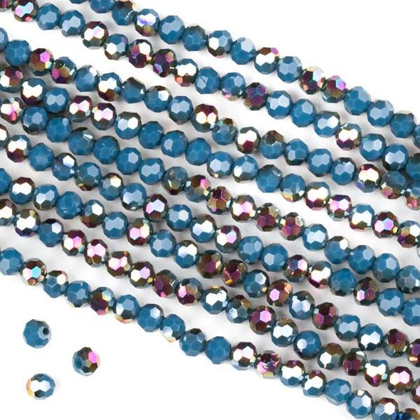 Crystal 4mm Faceted Round Beads - Opaque Hot Pink Golden Copper Kissed Dark Montana Blue - 15.5 inch strand