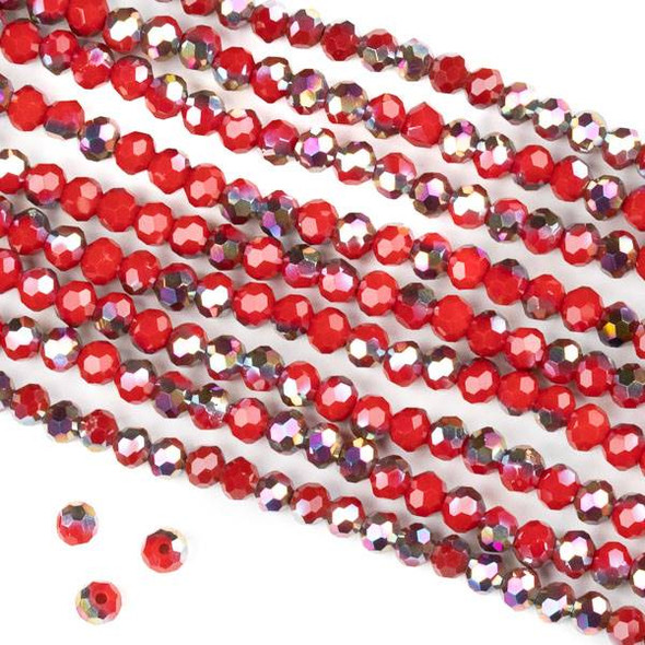 Crystal 4mm Faceted Round Beads - Opaque Hot Pink Golden Copper Kissed Chinese Red - 15.5 inch strand