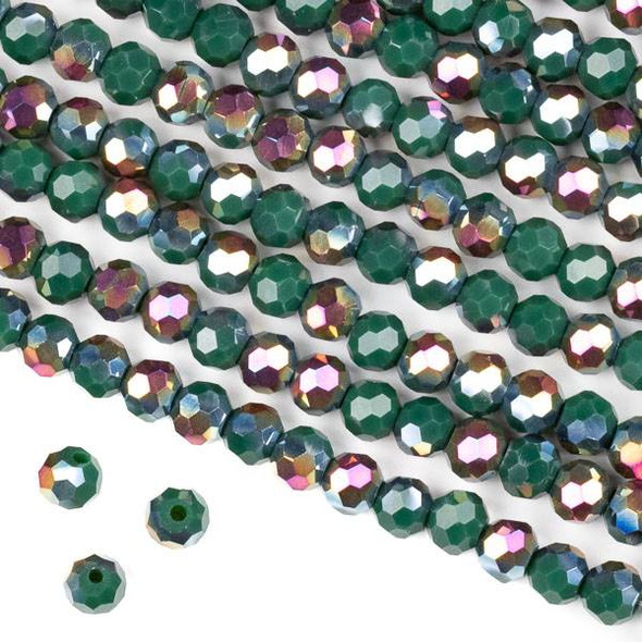 Crystal 6mm Faceted Round Beads - Opaque Hot Pink Golden Copper Kissed Forest Green - 15.5 inch strand