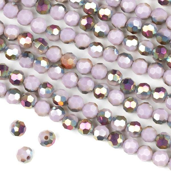 Crystal 6mm Faceted Round Beads - Opaque Hot Pink Golden Copper Kissed Purple Hydrangea - 15.5 inch strand