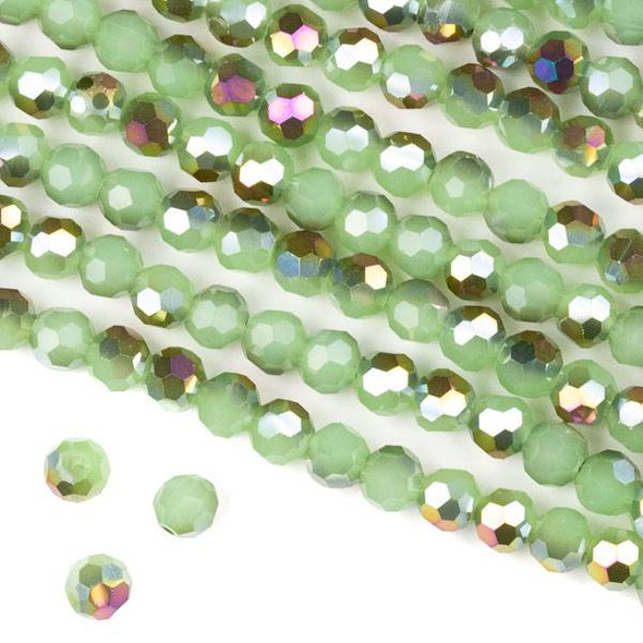 Crystal 6mm Faceted Round Beads - Opaque Hot Pink Golden Copper Kissed Spearmint Green - 15.5 inch strand
