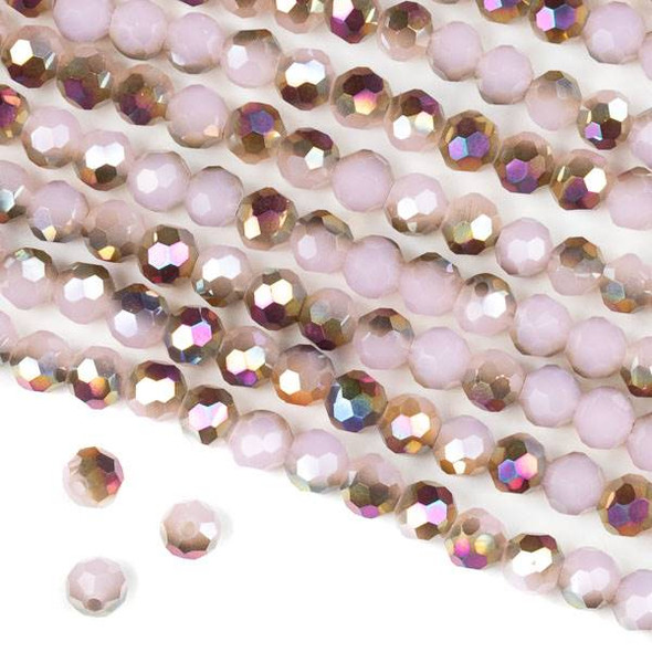 Crystal 6mm Faceted Round Beads - Opaque Hot Pink Golden Copper Kissed Pale Pink - 15.5 inch strand