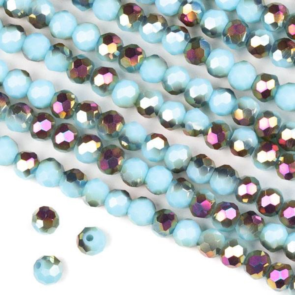 Crystal 6mm Faceted Round Beads - Opaque Hot Pink Golden Copper Kissed Chinese Turquoise - 15.5 inch strand