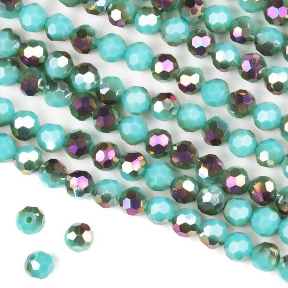Crystal 6mm Faceted Round Beads - Opaque Hot Pink Golden Copper Kissed Arctic Blue - 15.5 inch strand