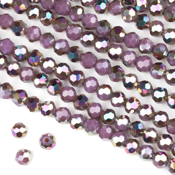 Crystal 6mm Faceted Round Beads - Opaque Hot Pink Golden Copper Kissed Purple - 15.5 inch strand