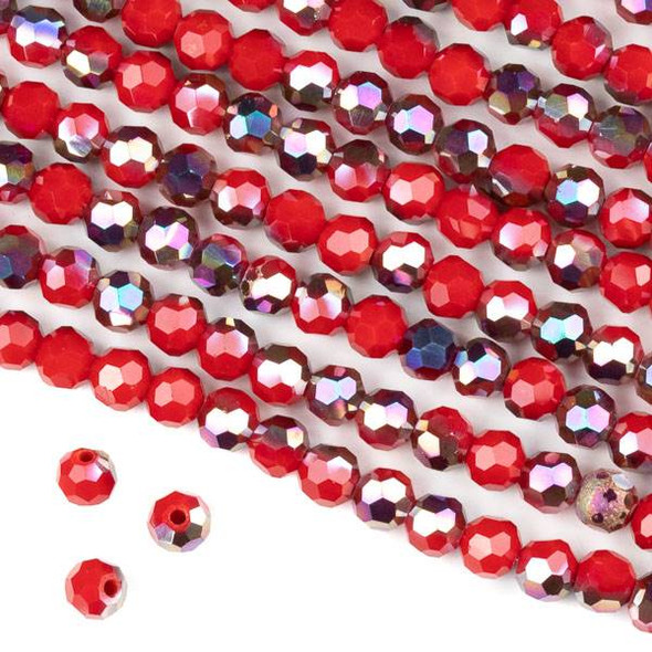 Crystal 6mm Faceted Round Beads - Opaque Hot Pink Golden Copper Kissed Chinese Red - 15.5 inch strand