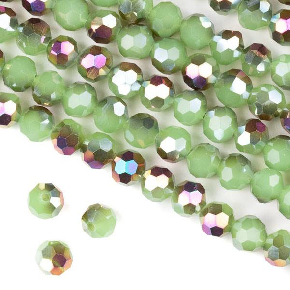 Crystal 8mm Faceted Round Beads - Opaque Hot Pink Golden Copper Kissed Spearmint Green - 15.5 inch strand
