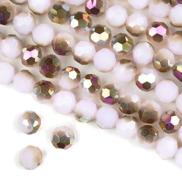 Crystal 8mm Faceted Round Beads - Opaque Hot Pink Golden Copper Kissed Pale Pink - 15.5 inch strand