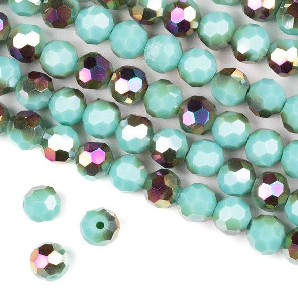 Crystal 8mm Faceted Round Beads - Opaque Hot Pink Golden Copper Kissed Arctic Blue - 15.5 inch strand