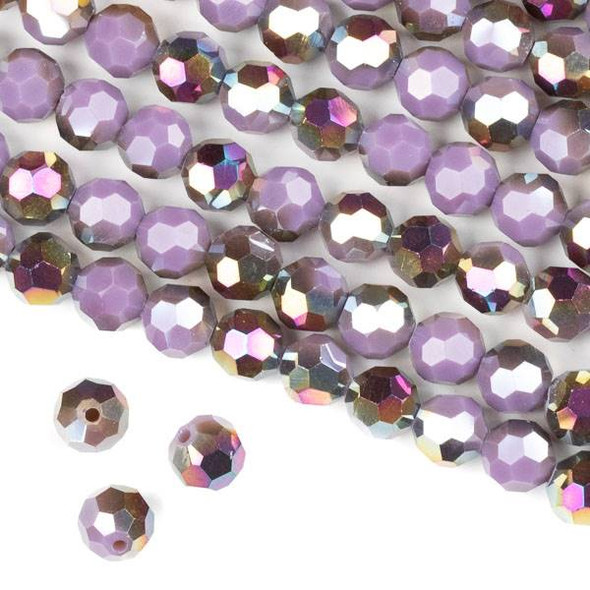 Crystal 8mm Faceted Round Beads - Opaque Hot Pink Golden Copper Kissed Purple - 15.5 inch strand