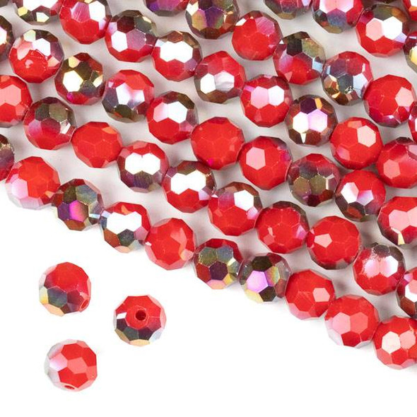 Crystal 8mm Faceted Round Beads - Opaque Hot Pink Golden Copper Kissed Chinese Red - 15.5 inch strand