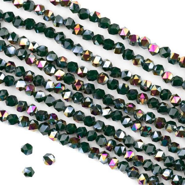 Crystal 4mm Star Cut Beads -  Opaque Hot Pink Golden Copper Kissed Forest Green - 15.5 inch strand