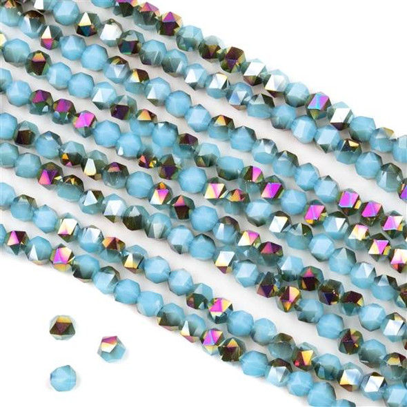 Crystal 4mm Star Cut Beads - Opaque Hot Pink Golden Copper Kissed Chinese Turquoise Blue - 15.5 inch strand