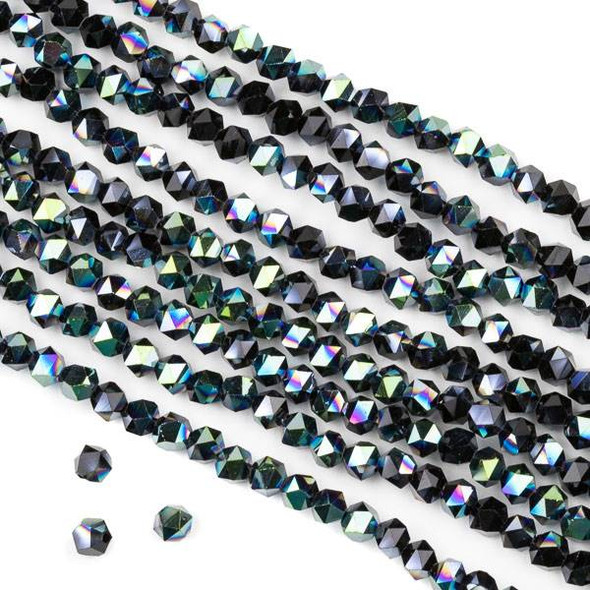 Crystal 4mm Star Cut Beads -  Opaque Green Rainbow Kissed Jet Black - 15.5 inch strand