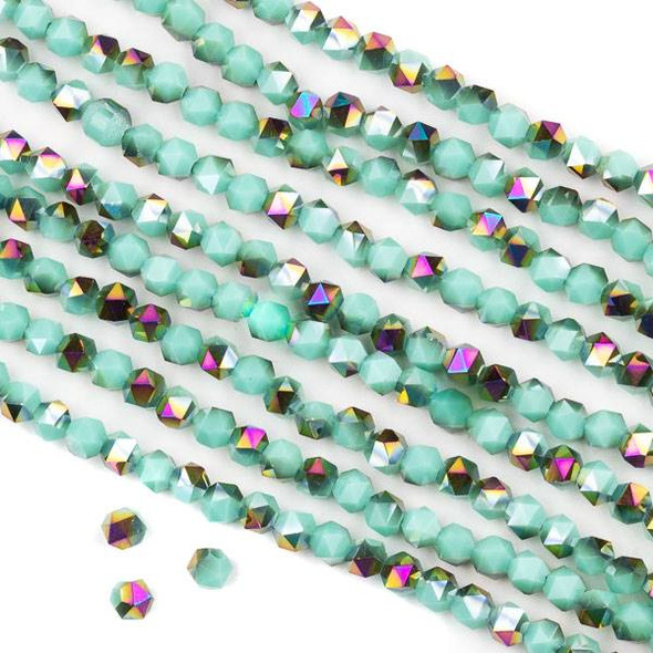 Crystal 4mm Star Cut Beads -  Opaque Hot Pink Golden Copper Kissed Arctic Blue - 15.5 inch strand