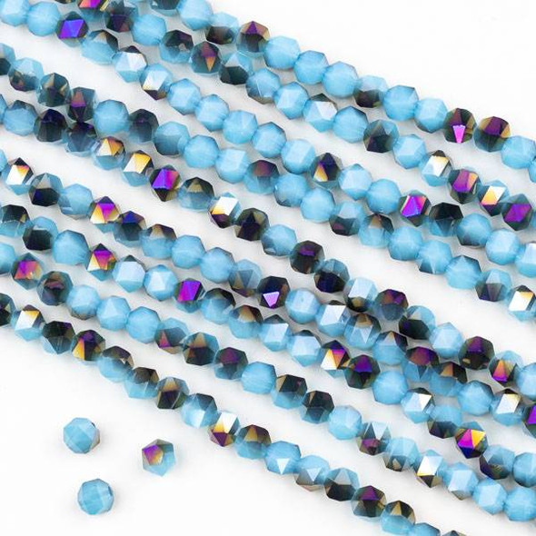Crystal 4mm Star Cut Beads -  Opaque Purple Rainbow Kissed Light Aqua - 15.5 inch strand