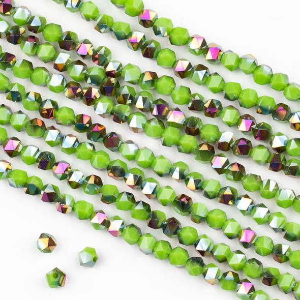 Crystal 4mm Star Cut Beads -  Opaque Hot Pink Golden Copper Kissed Sour Apple Green - 15.5 inch strand