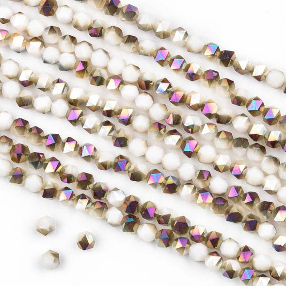 Crystal 4mm Star Cut Beads -  Opaque Hot Pink Golden Copper Kissed Nude - 15.5 inch strand