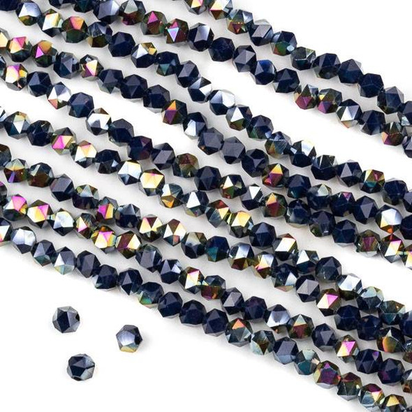 Crystal 4mm Star Cut Beads -  Opaque Hot Pink Golden Copper Kissed Deep Lake Blue - 15.5 inch strand