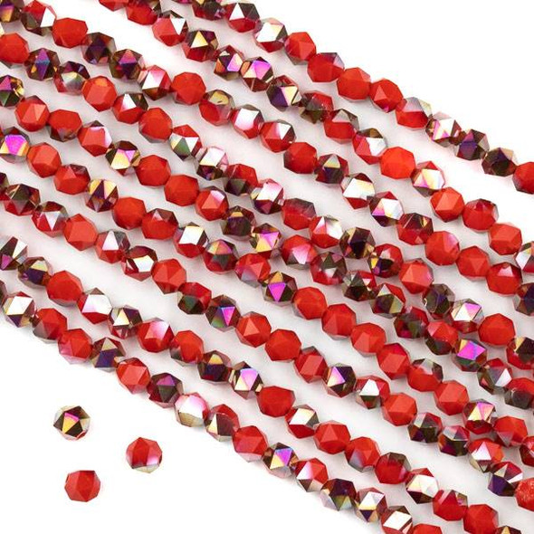 Crystal 4mm Star Cut Beads -  Opaque Hot Pink Golden Copper Kissed Chinese Red - 15.5 inch strand