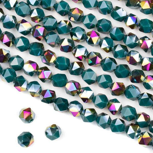 Crystal 6mm Star Cut Beads -  Opaque Hot Pink Golden Copper Kissed Dark Teal - 15.5 inch strand