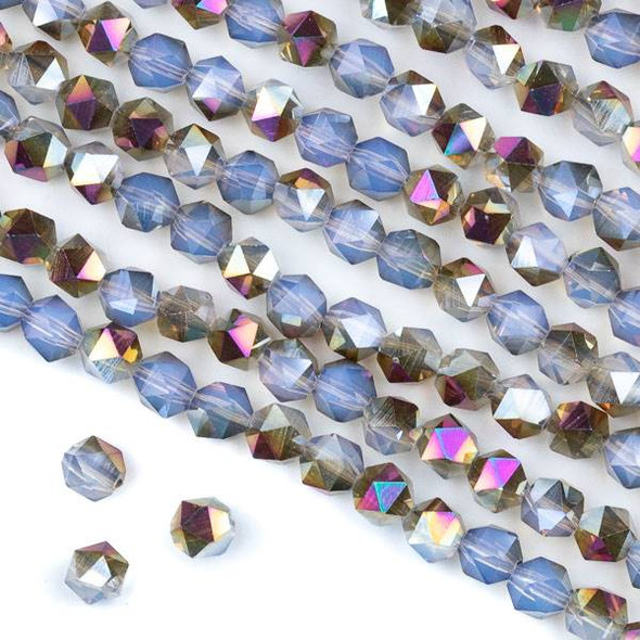 Crystal 6mm Star Cut Beads -  Hot Pink Golden Copper Kissed Opaline - 15.5 inch strand