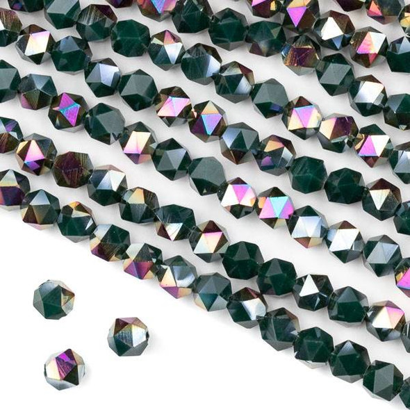 Crystal 6mm Star Cut Beads -  Opaque Hot Pink Golden Copper Kissed Forest Green - 15.5 inch strand