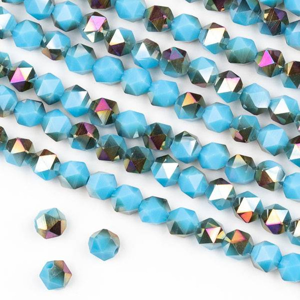 Crystal 6mm Star Cut Beads -  Opaque Hot Pink Golden Copper Kissed Aqua Blue - 15.5 inch strand