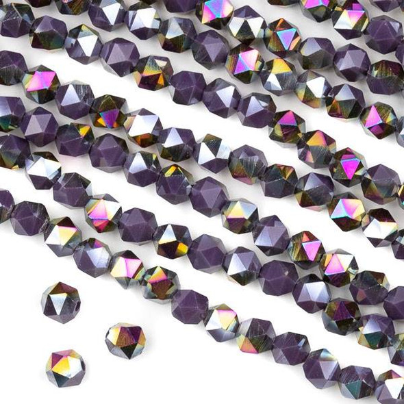 Crystal 6mm Star Cut Beads -  Opaque Hot Pink Golden Copper Kissed Dark Purple - 15.5 inch strand