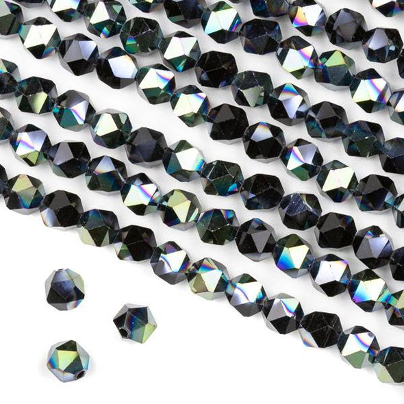Crystal 6mm Star Cut Beads -  Opaque Green Rainbow Kissed Jet Black - 15.5 inch strand