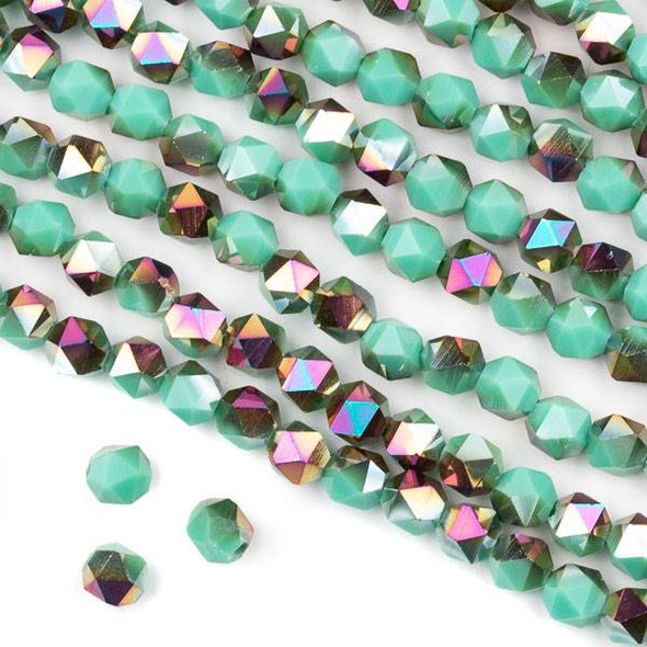 Crystal 6mm Star Cut Beads -  Opaque Hot Pink Golden Copper Kissed Arctic Blue - 15.5 inch strand