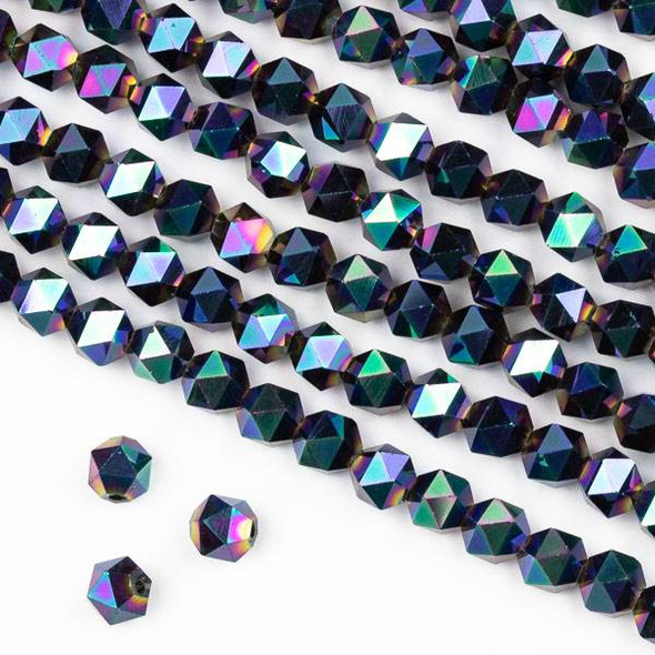 Crystal 6mm Star Cut Beads -  Opaque Purple Mermaid Scales - 15.5 inch strand