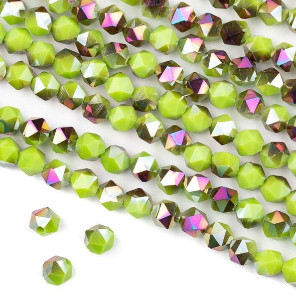 Crystal 6mm Star Cut Beads -  Opaque Hot Pink Golden Copper Kissed Sour Apple Green - 15.5 inch strand