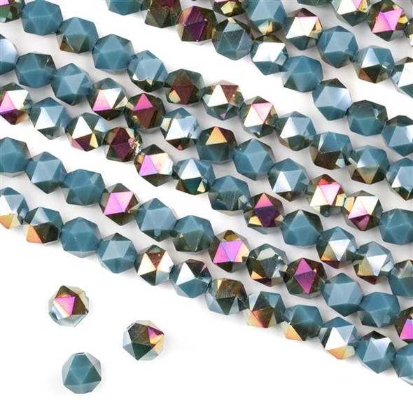 Crystal 6mm Star Cut Beads -  Opaque Hot Pink Golden Copper Kissed Blue Grey - 15.5 inch strand