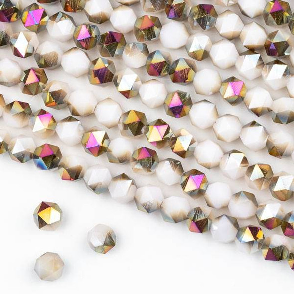 Crystal 6mm Star Cut Beads -  Opaque Hot Pink Golden Copper Kissed Nude - 15.5 inch strand