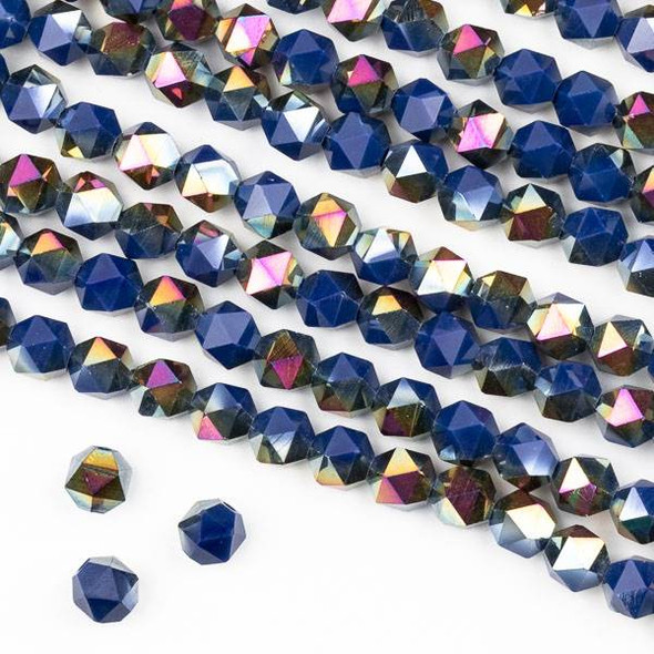 Crystal 6mm Star Cut Beads -  Opaque Hot Pink Golden Copper Kissed Deep Lake Blue - 15.5 inch strand