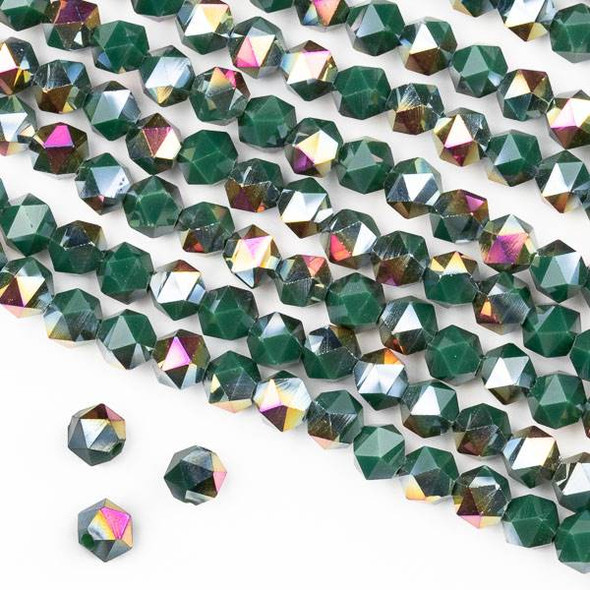 Crystal 6mm Star Cut Beads -  Opaque Hot Pink Golden Copper Kissed Green - 15.5 inch strand