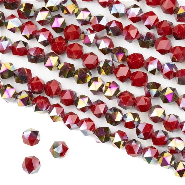Crystal 6mm Star Cut Beads -  Opaque Hot Pink Golden Copper Kissed Chinese Red - 15.5 inch strand