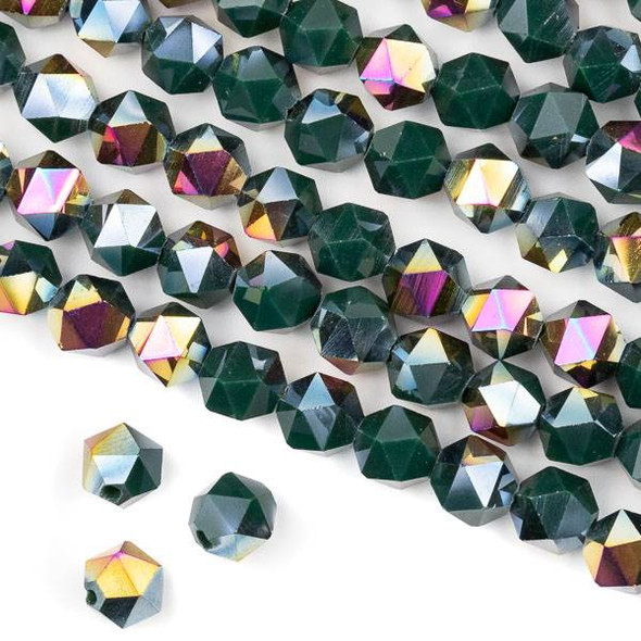 Crystal 8mm Star Cut Beads -  Opaque Hot Pink Golden Copper Kissed Forest Green - 15.5 inch strand