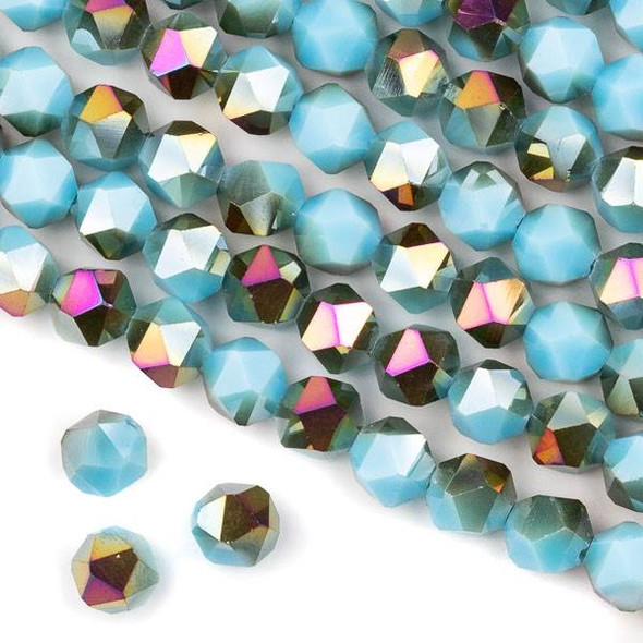 Crystal 8mm Star Cut Beads -  Opaque Hot Pink Golden Copper Kissed Aqua Blue - 15.5 inch strand