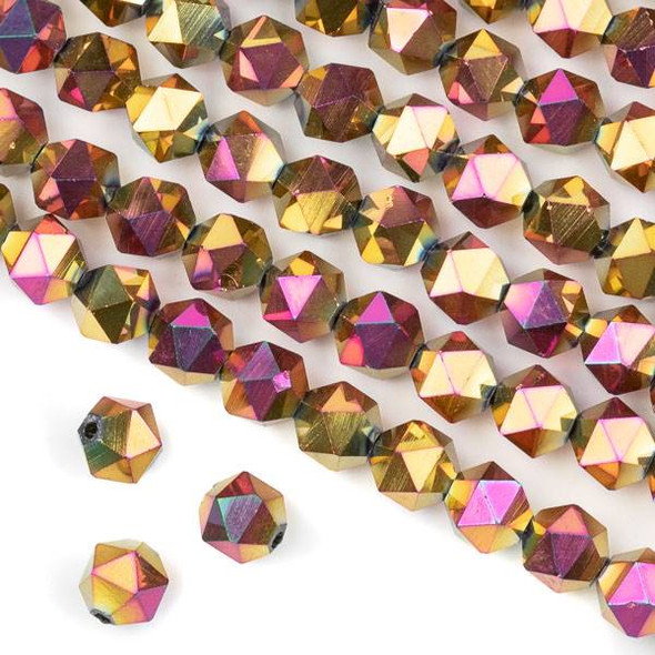 Crystal 8mm Star Cut Beads -  Hot Pink Kissed Golden Copper - 15.5 inch strand