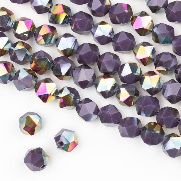 Crystal 8mm Star Cut Beads -  Opaque Hot Pink Golden Copper Kissed Dark Purple - 15.5 inch strand