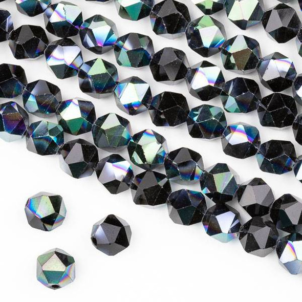 Crystal 8mm Star Cut Beads -  Opaque Green Rainbow Kissed Jet Black - 15.5 inch strand
